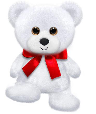 "6"" White Rainbow Bear, 6\"" sitting"